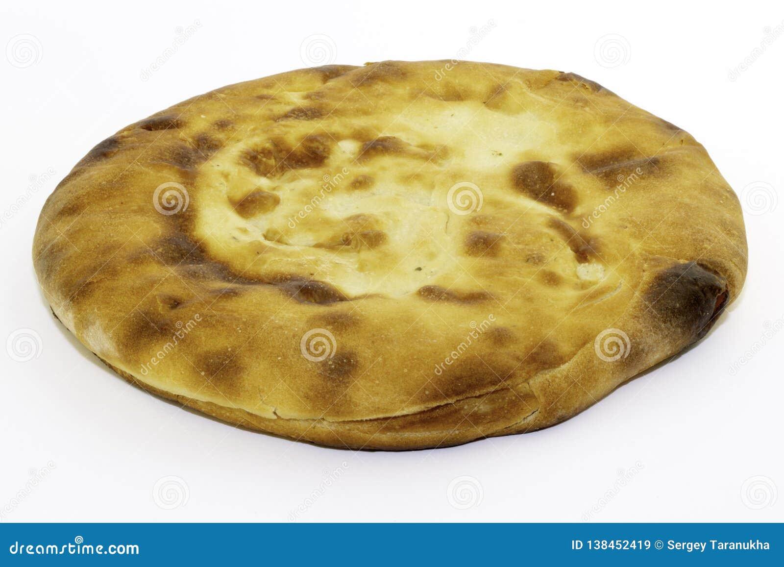 Pão branco ázimo caucasiano feito da farinha de trigo - pão do pão árabe