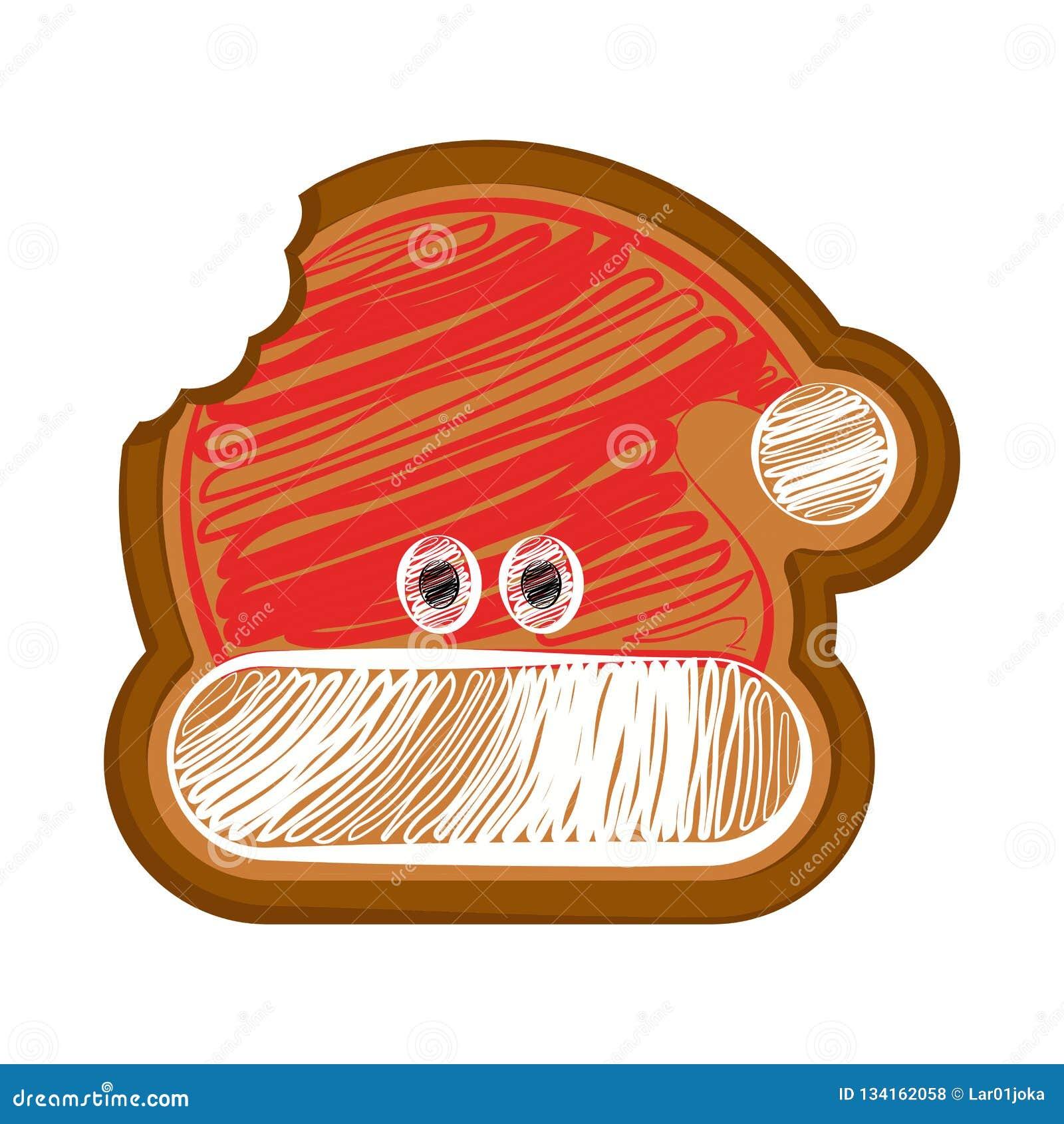 Pão-de-espécie mordido do chapéu do Natal