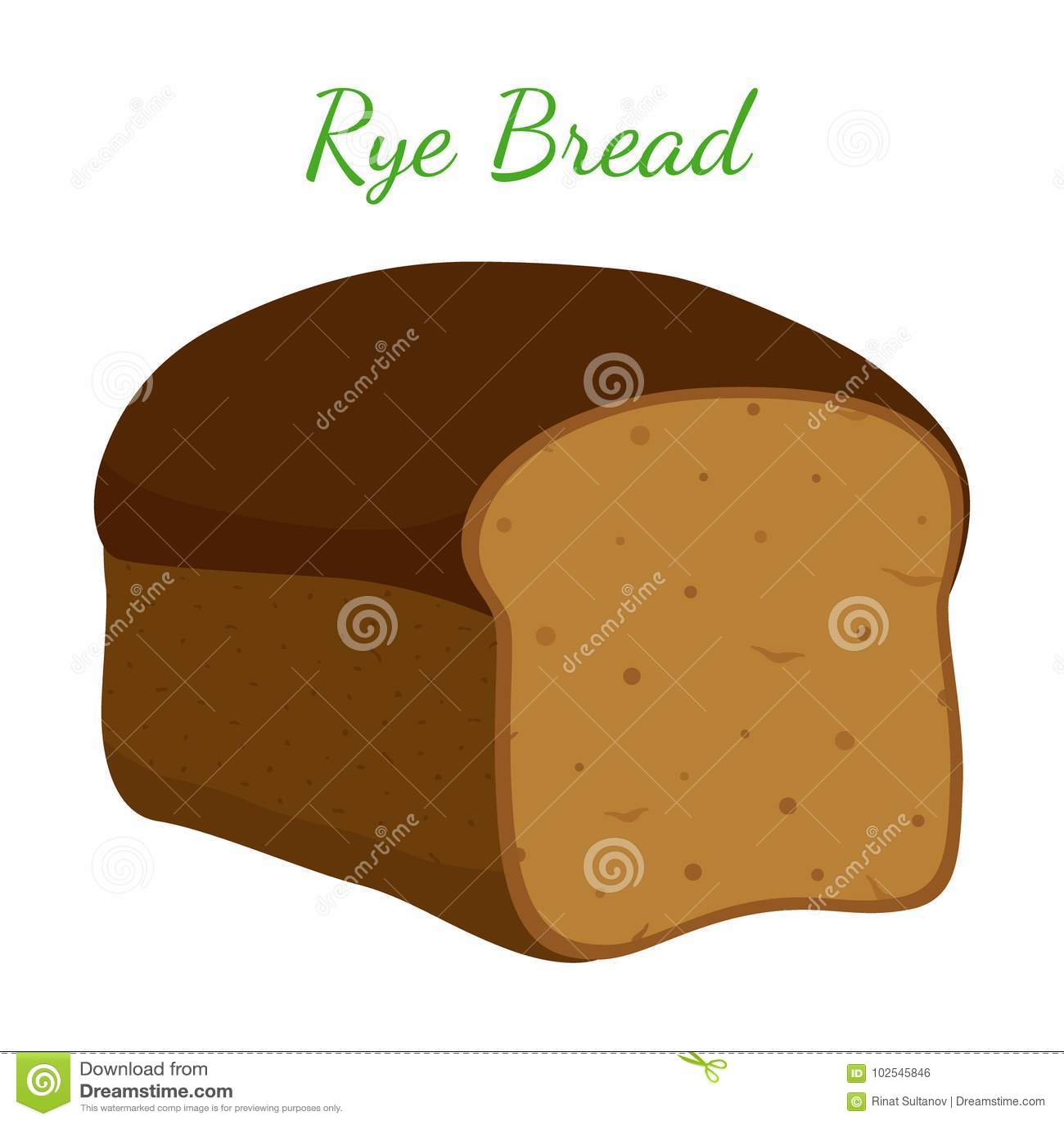 Pão de Rye, naco inteiro da grão, padaria, pastelaria Estilo dos desenhos animados Vetor