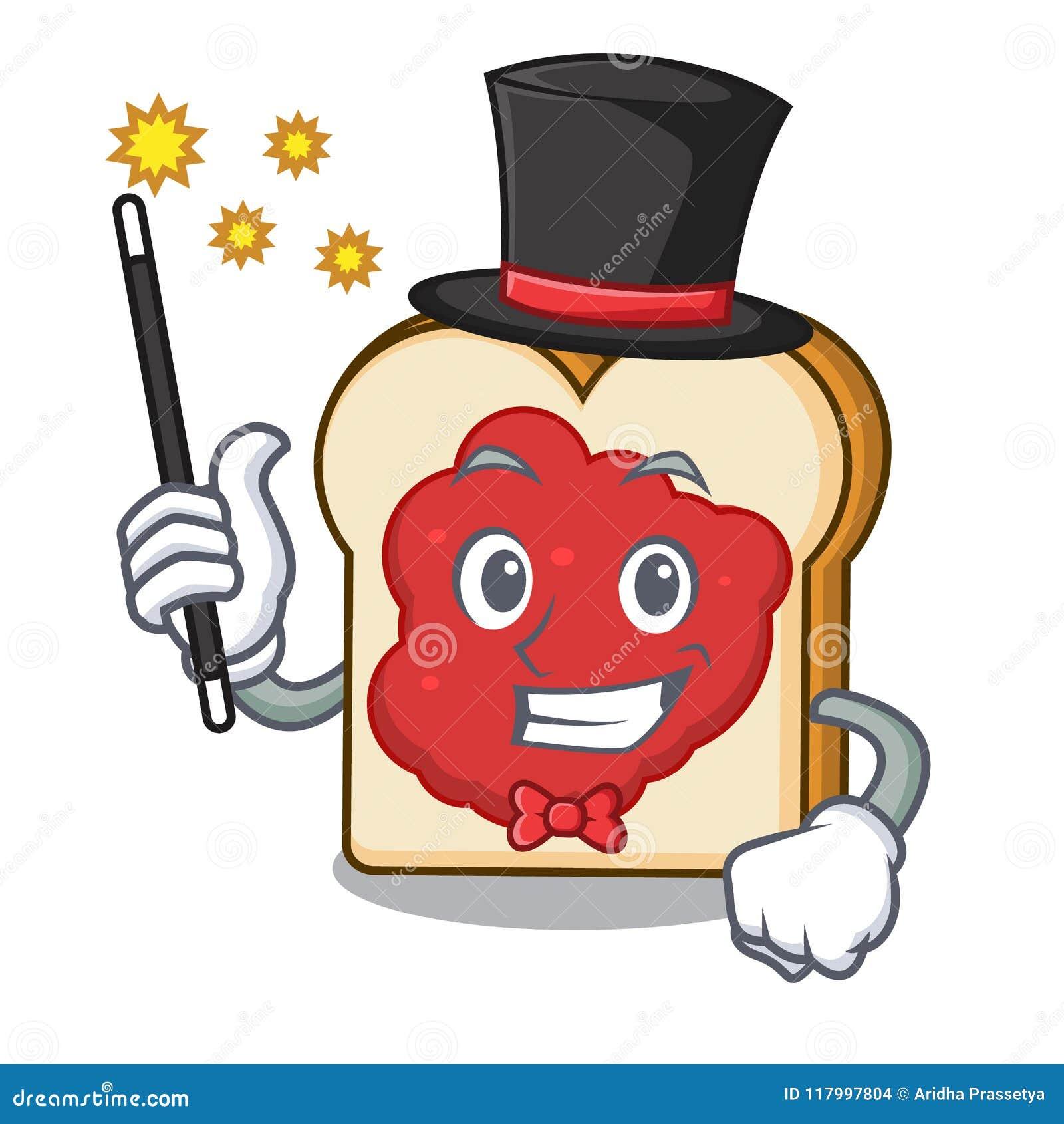 Pão do mágico com desenhos animados da mascote do doce