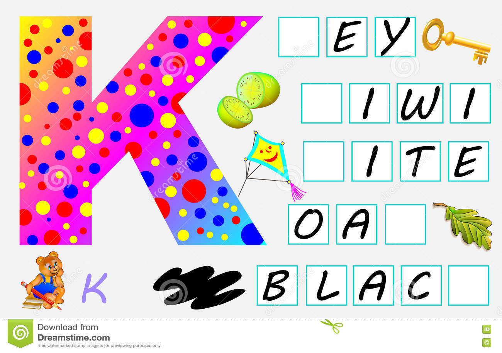 Pädagogische Seite Für Kinder Mit Buchstaben K Für Studie Englisch ...