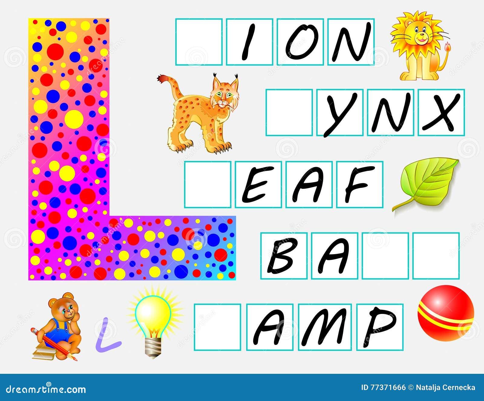 Pädagogische Seite Für Kinder Mit Buchstaben L Für Studie Englisch ...