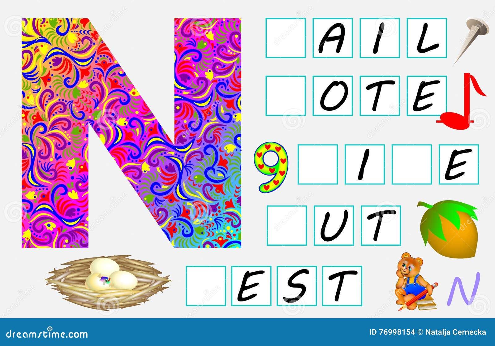 Pädagogische Seite Für Kinder Mit Buchstaben N Für Studie Englisch ...