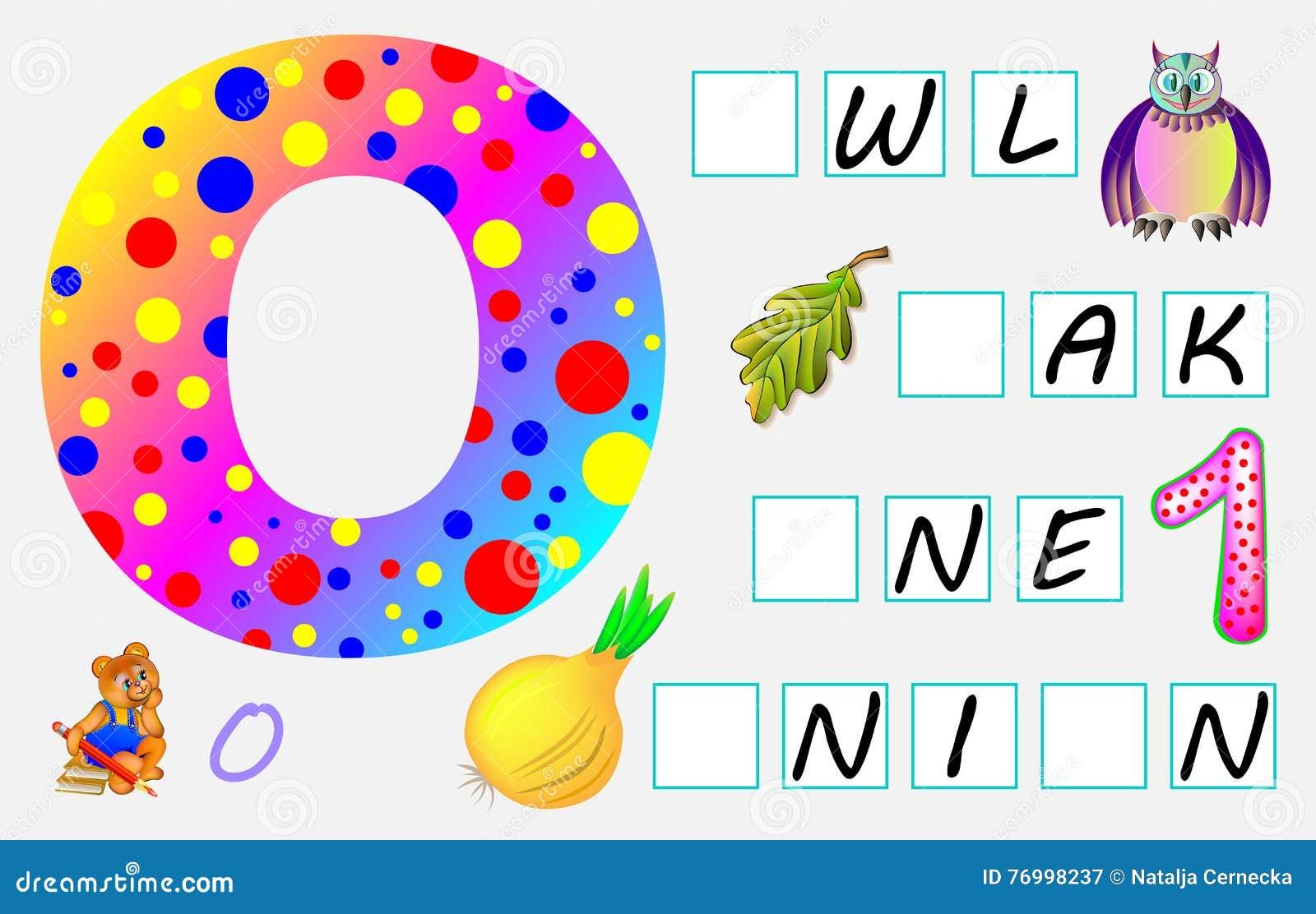 Pädagogische Seite Für Kinder Mit Buchstaben O Für Studie Englisch ...