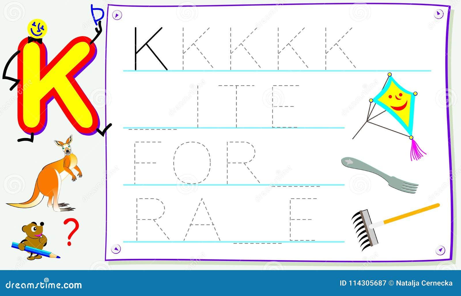 Pädagogische Seite Für Kleinkinder Mit Buchstaben K Für Studie ...