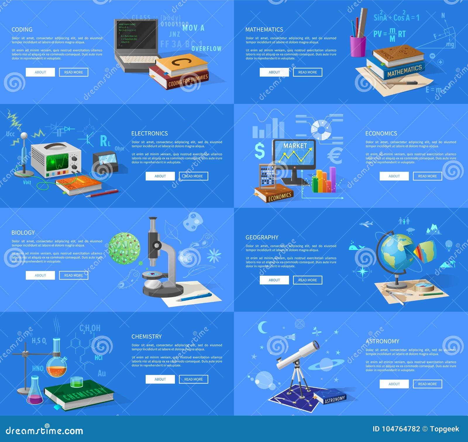 Pädagogische Thema-informative Internet-Seiten Vektor Abbildung ...