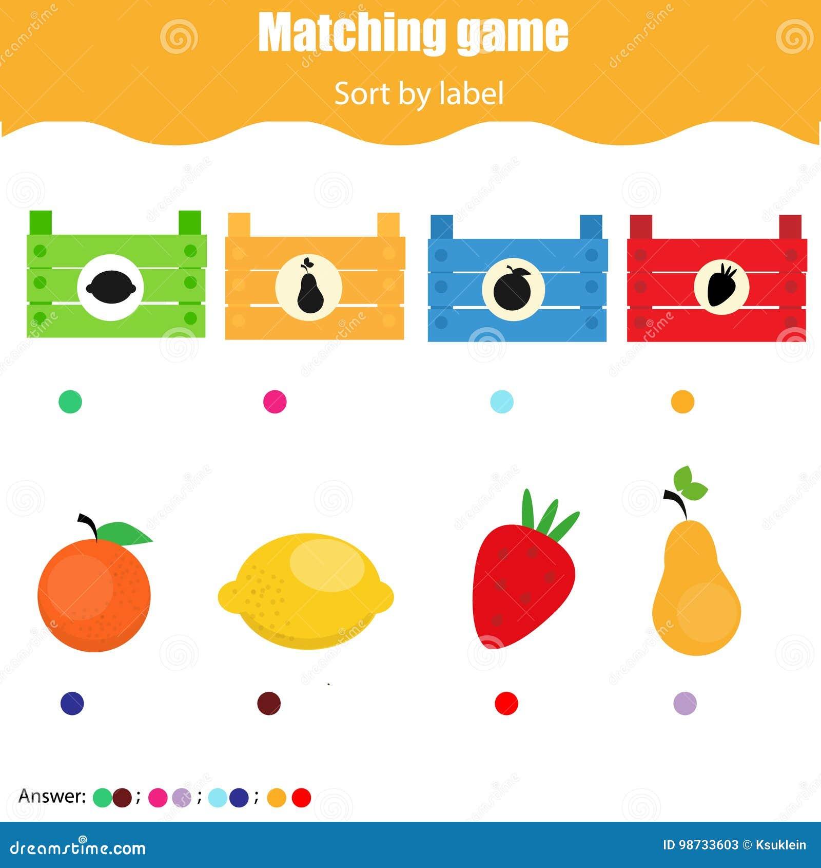 Pädagogisches Kinderspiel Arbeitsblatt Des Zusammenpassenden Spiels ...