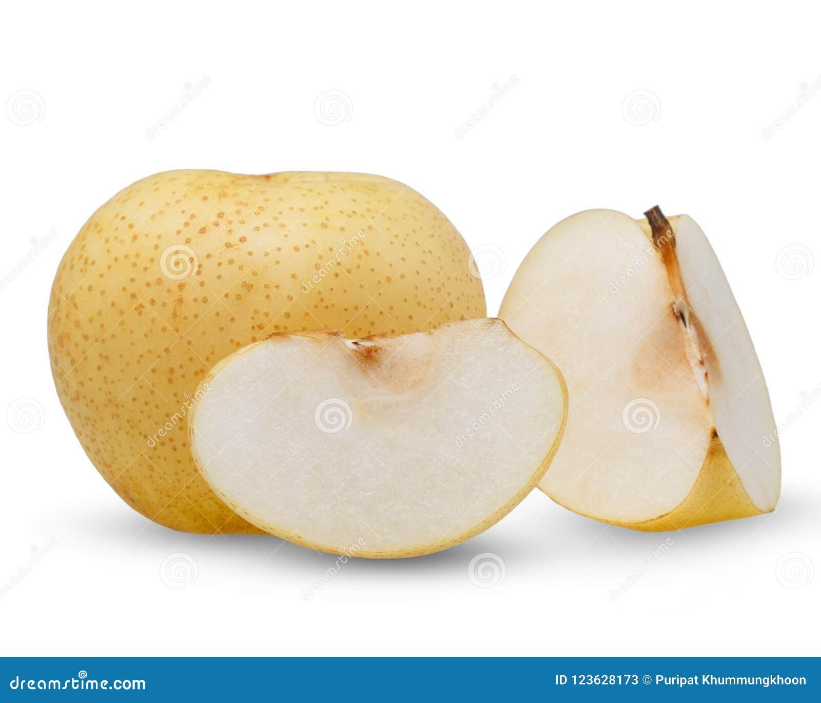Päron - asiatiska päron som isoleras på vit bakgrund