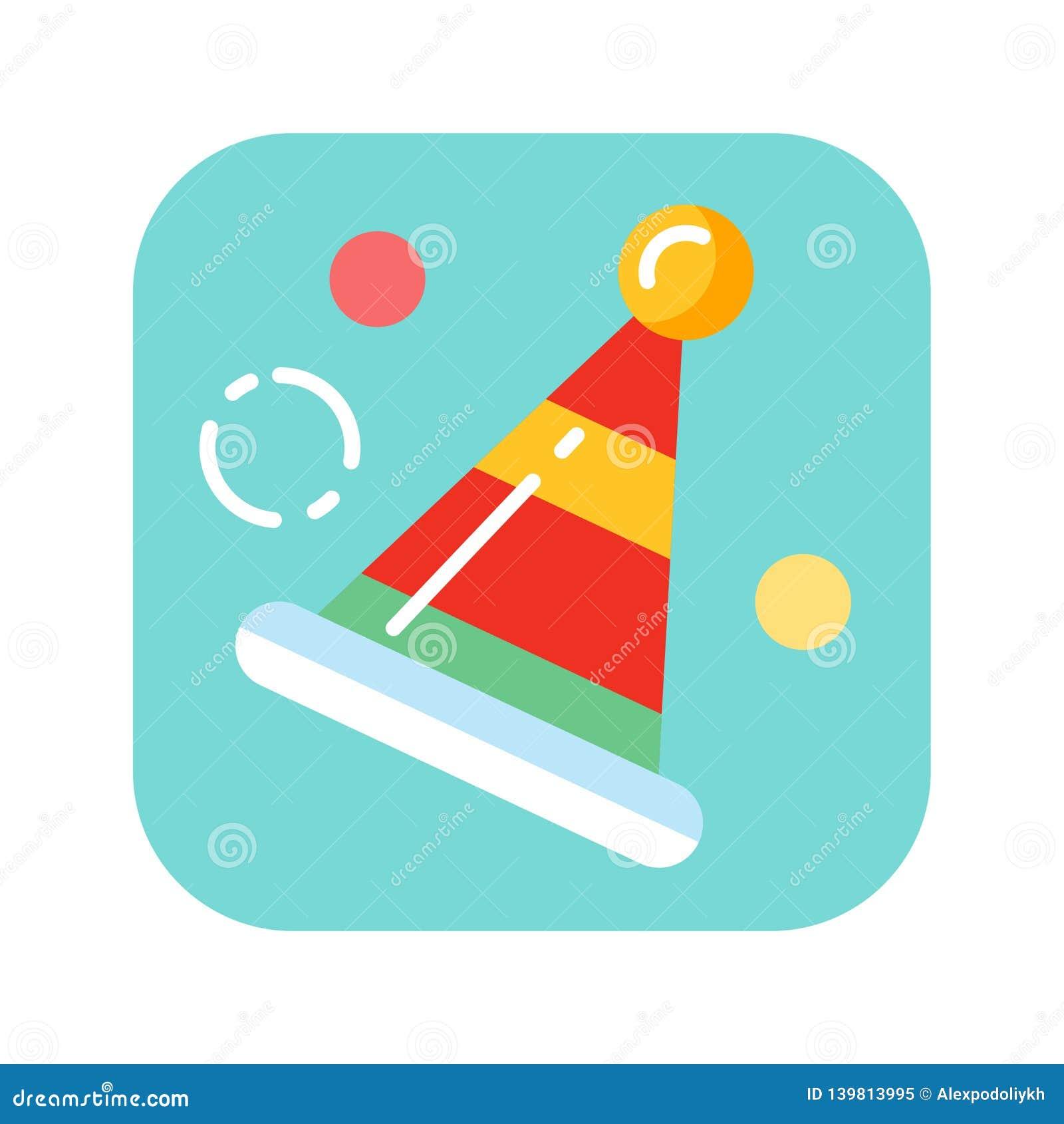 Płaski kolor ikony urodziny kapelusz Pojęcie wakacyjny akcesorium