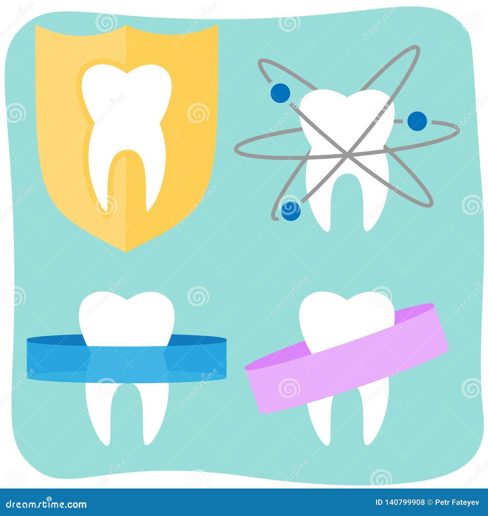 Płaskie ząb ikony