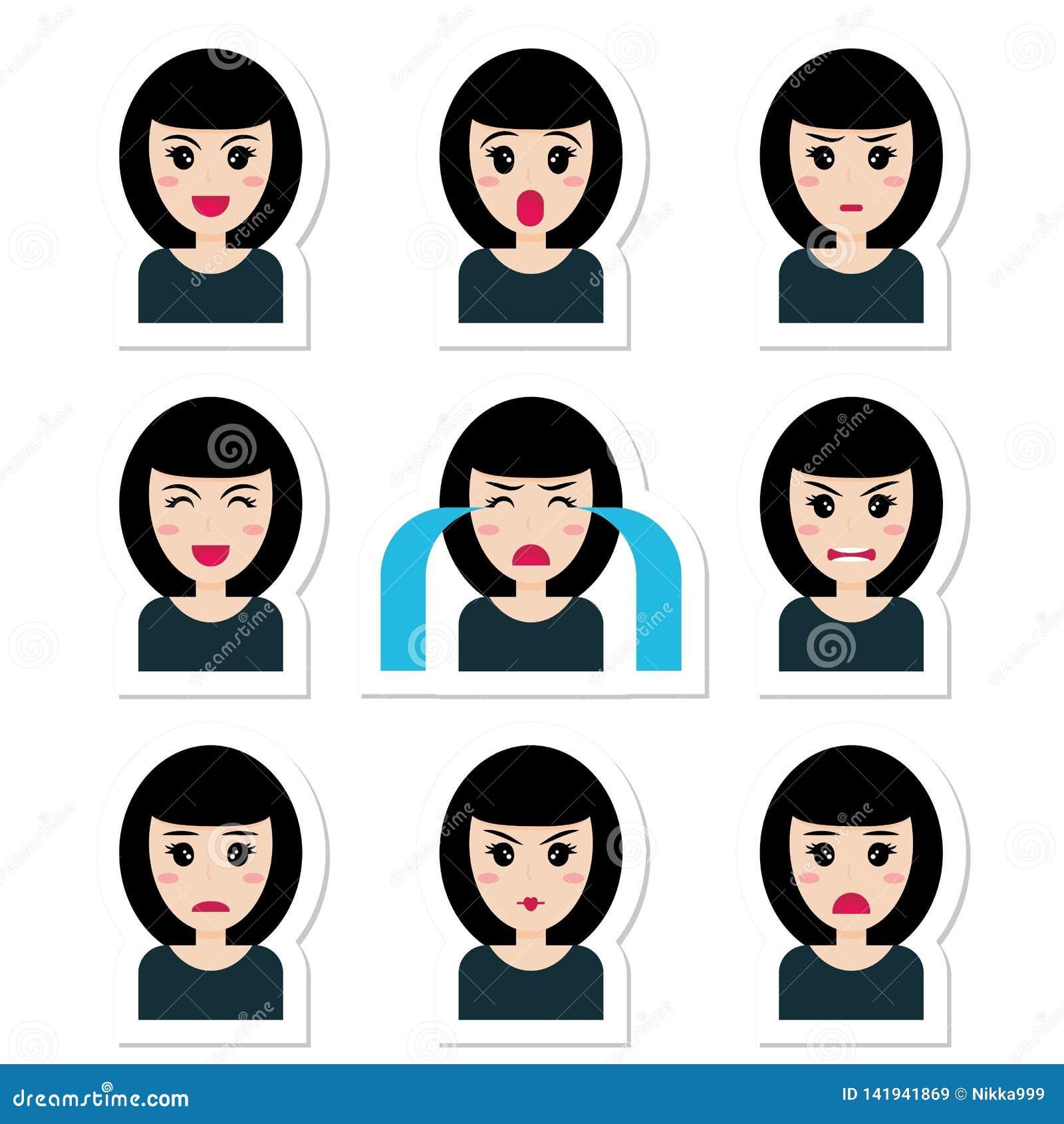 Płaskiej postaci z kreskówki śliczna dziewczyna z czarni włosy, różne emocje