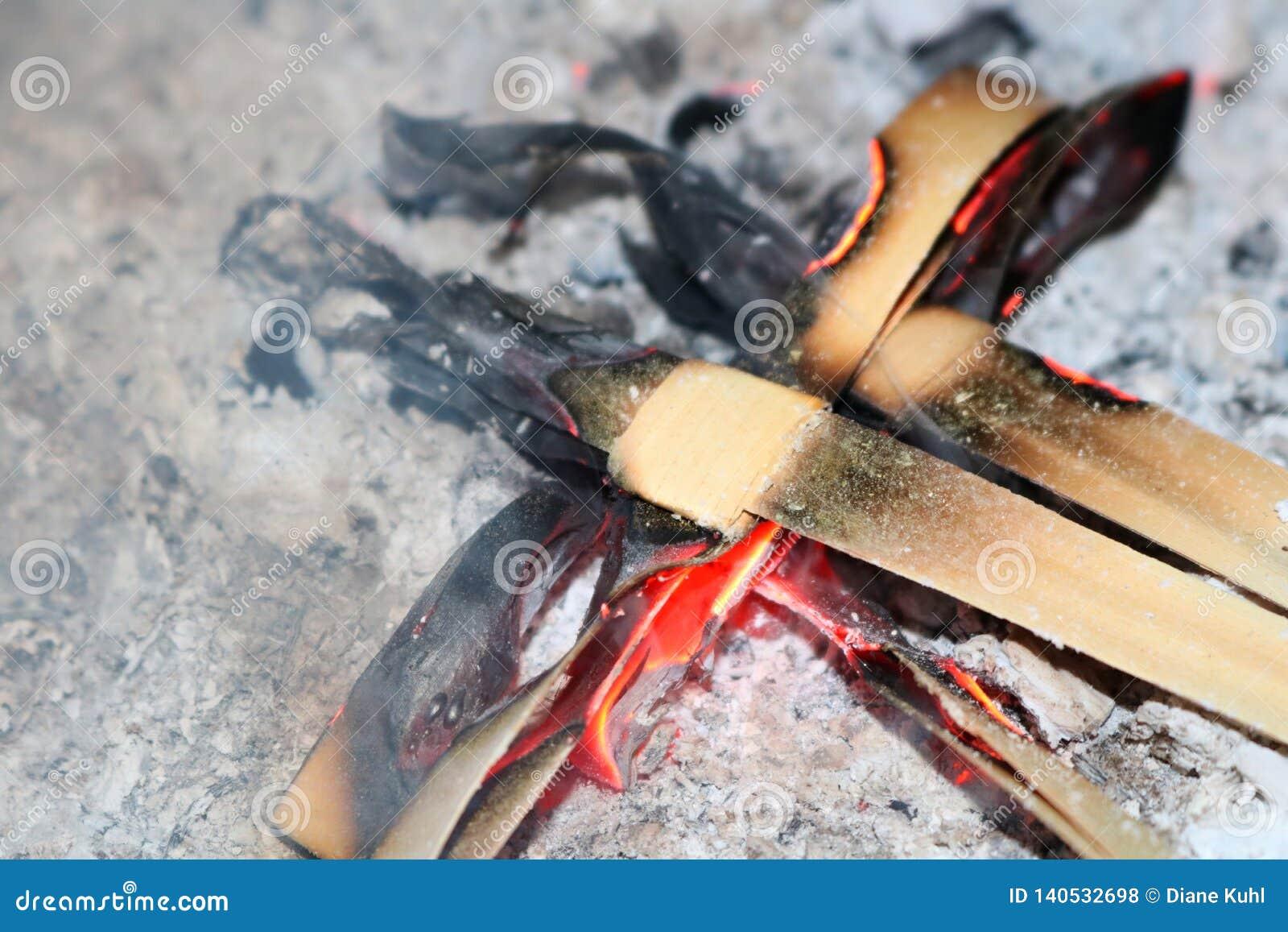 Płonący palma krzyże popióły dla pożyczający