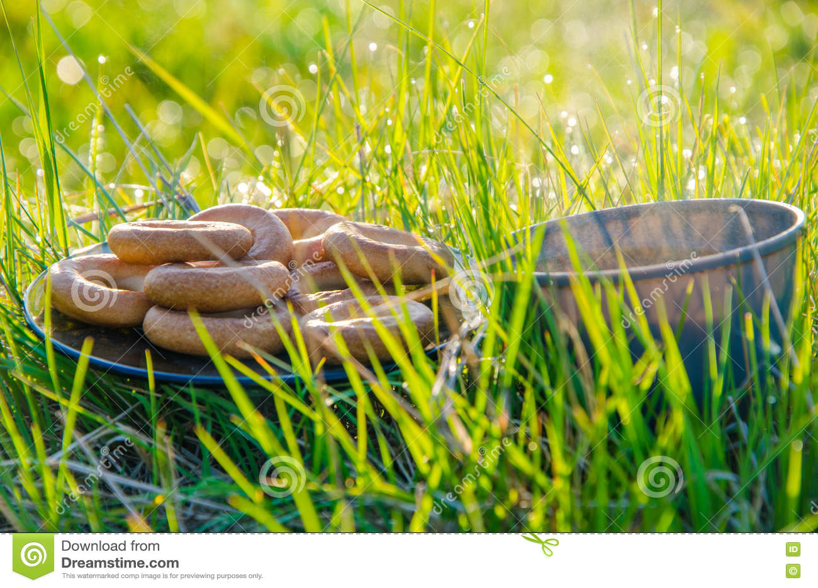 På en grön gräsmatta i den tidiga dimmiga morgonen Te