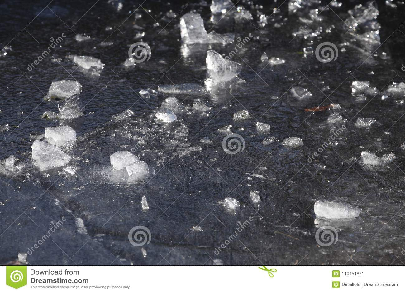 Is på en isbunden sjö