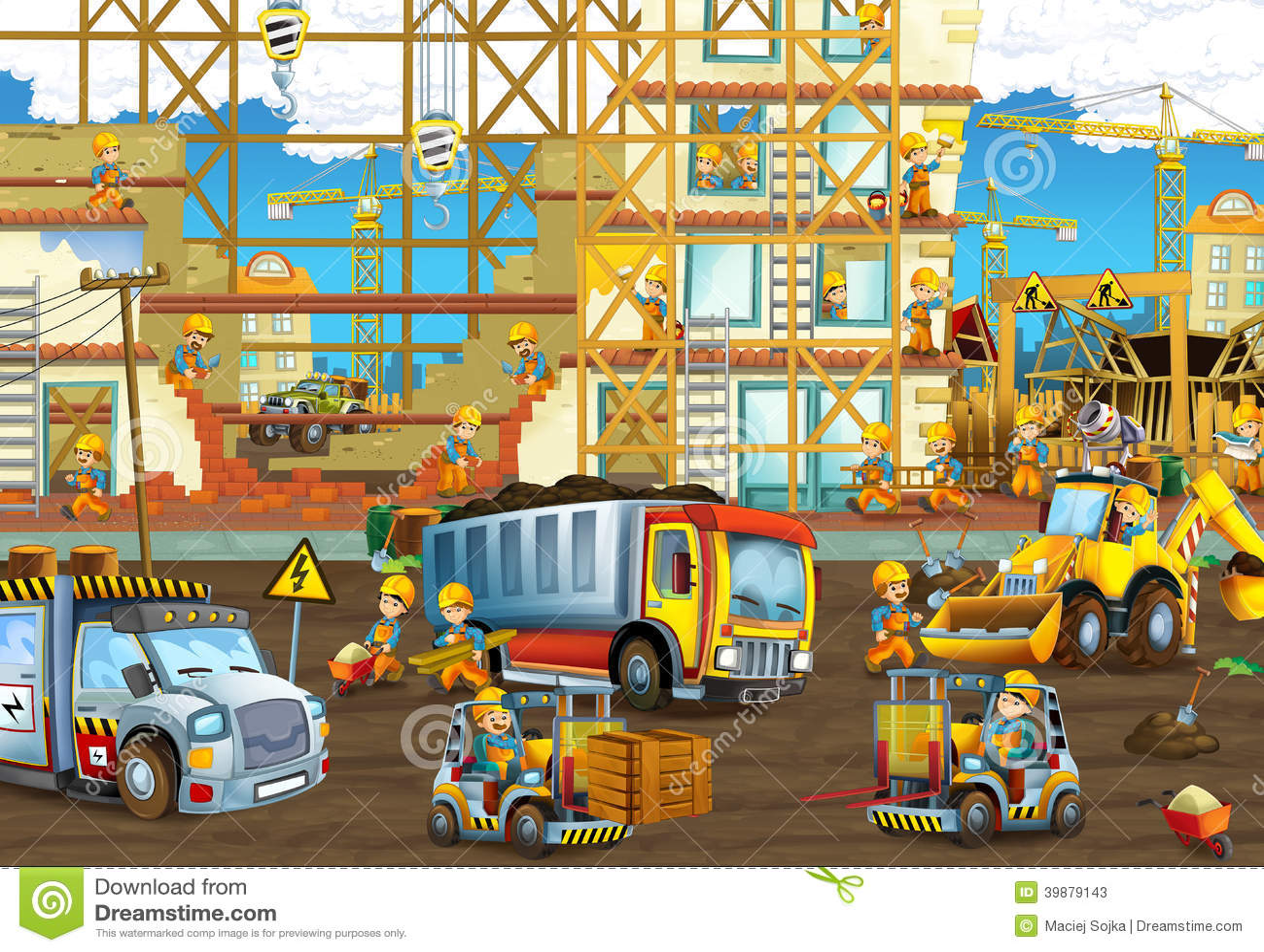 På konstruktionsplatsen - illustration för barnen