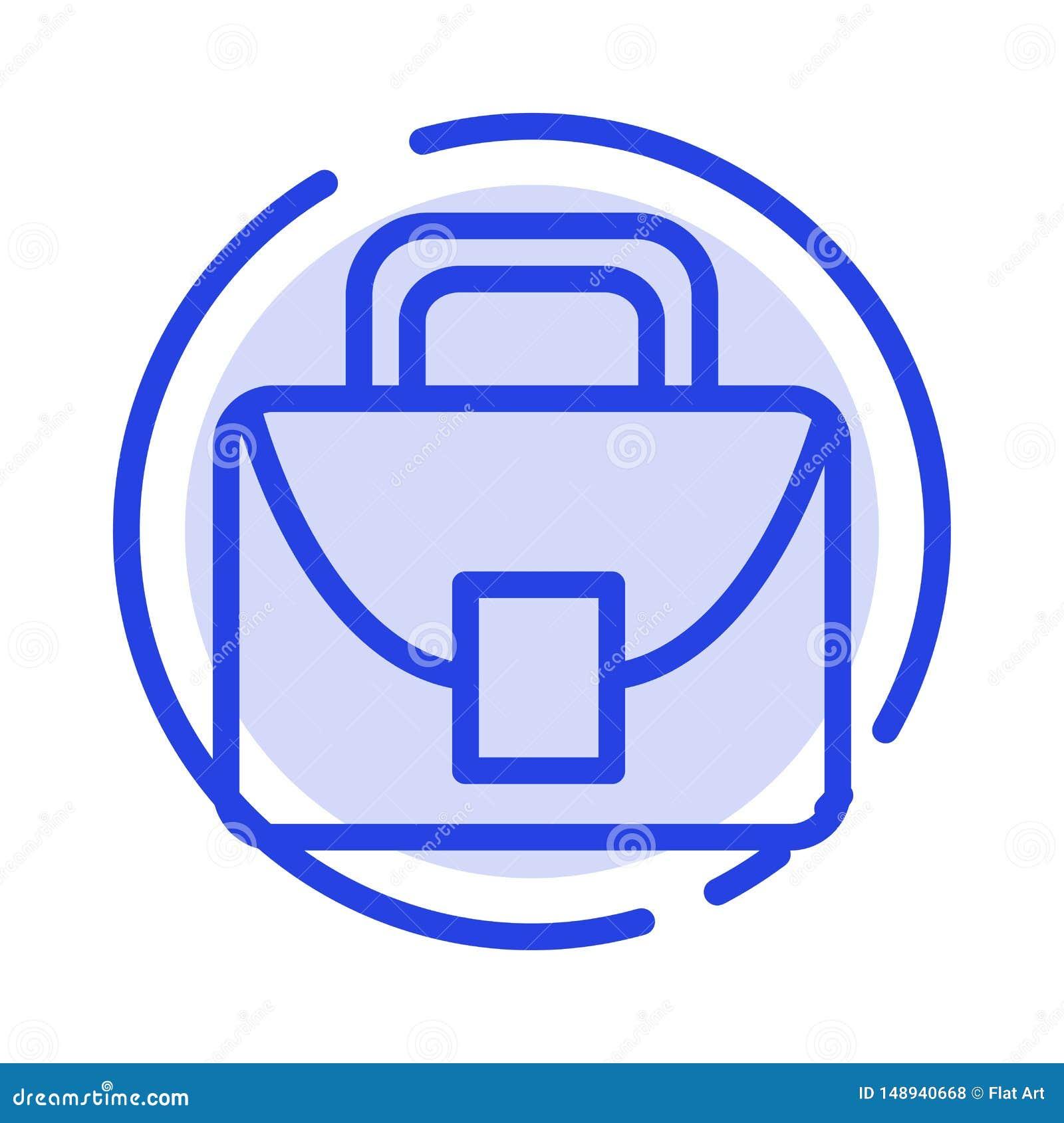 Påse arbetare, logistisk global blå prickig linje linje symbol
