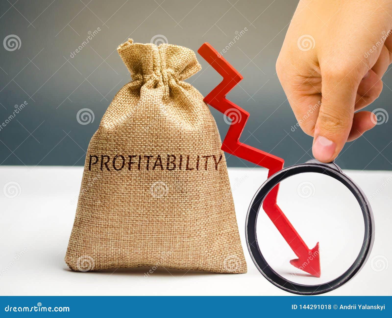 Påse med ordvinsten och ner en pil med en affärsman Låg ekonomisk effektivitet och profitableness Droppe i vinster