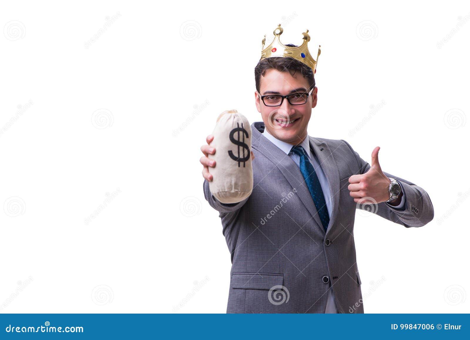 Påsen för pengar för konungaffärsman som den hållande isoleras på vit bakgrund