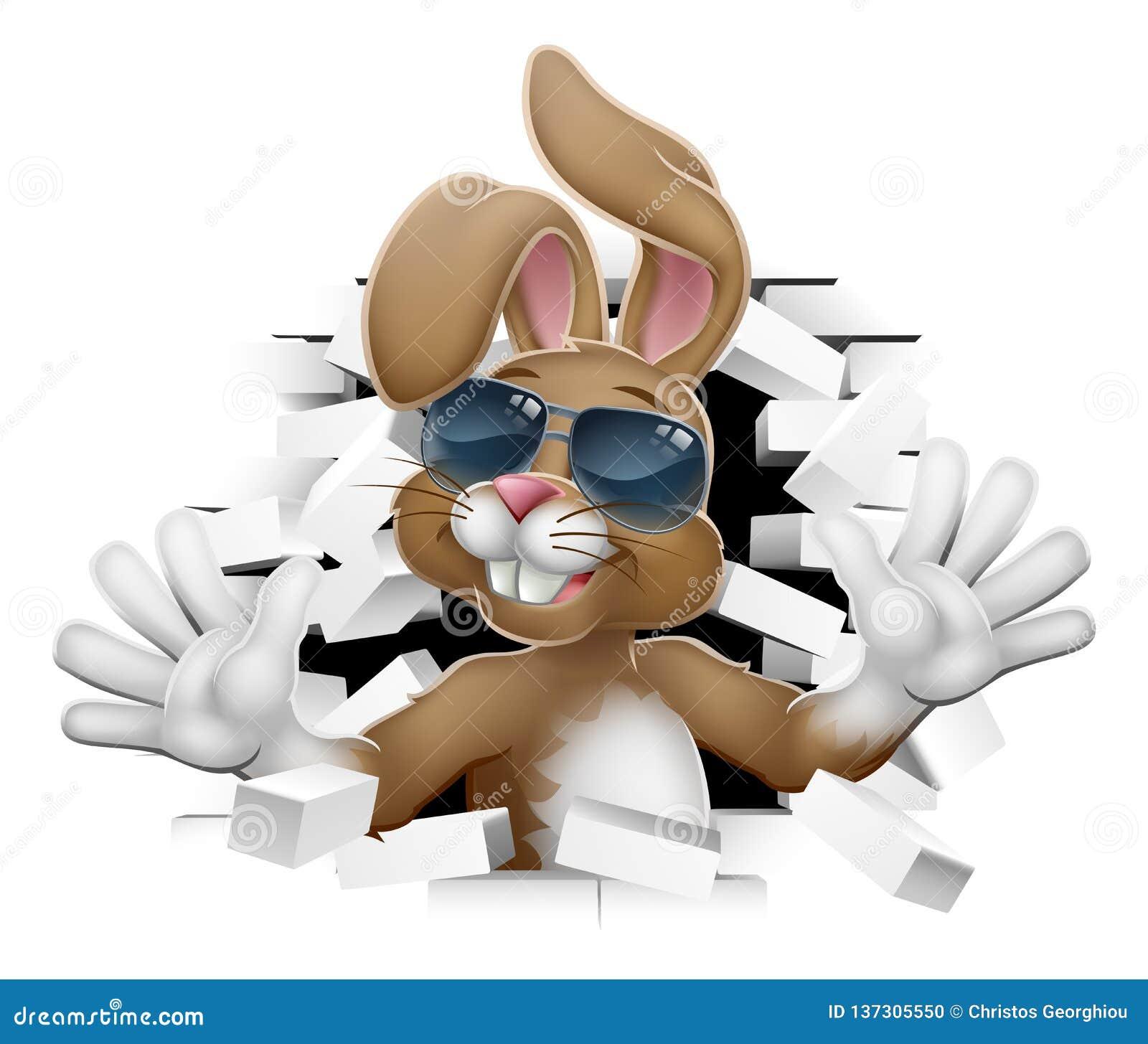 Påsk Bunny Rabbit i skuggor som kommer till och med väggen