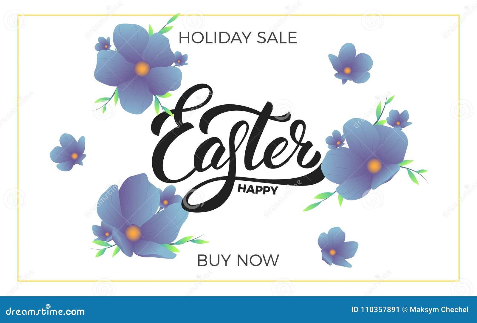 Påsk Sale banerbakgrund med moderiktiga vårblommor och lycklig påskbokstäver Mall för påskförsäljningsdesign
