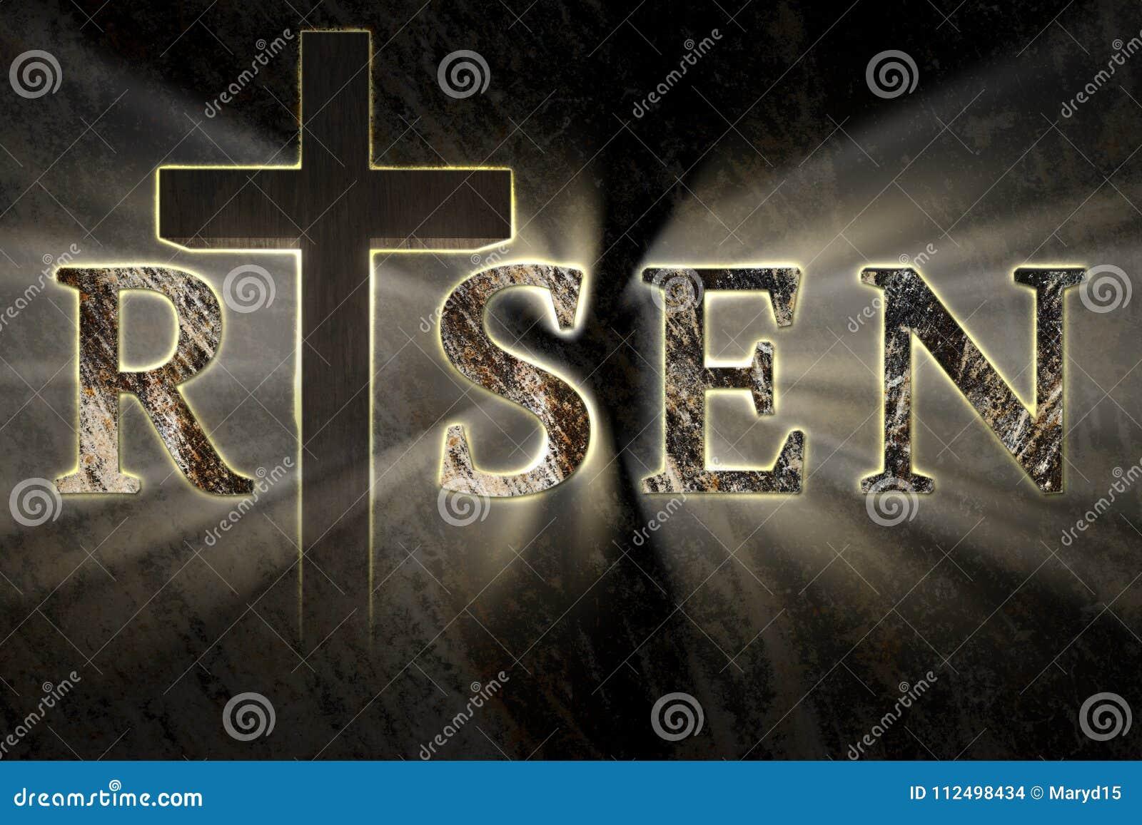 Påskbakgrund med arga Jesus Christ och skriftlig uppstigen text, inristat, snidit på stenen