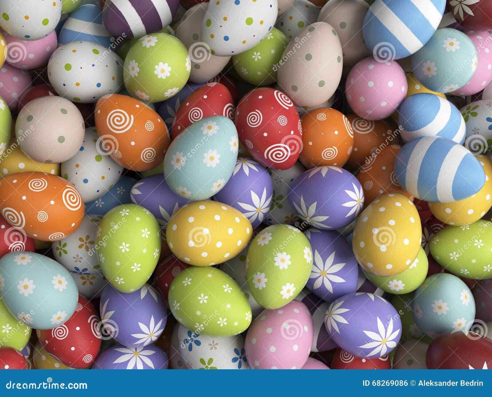 Påskbakgrund som fylls med färgrika ägg 3D