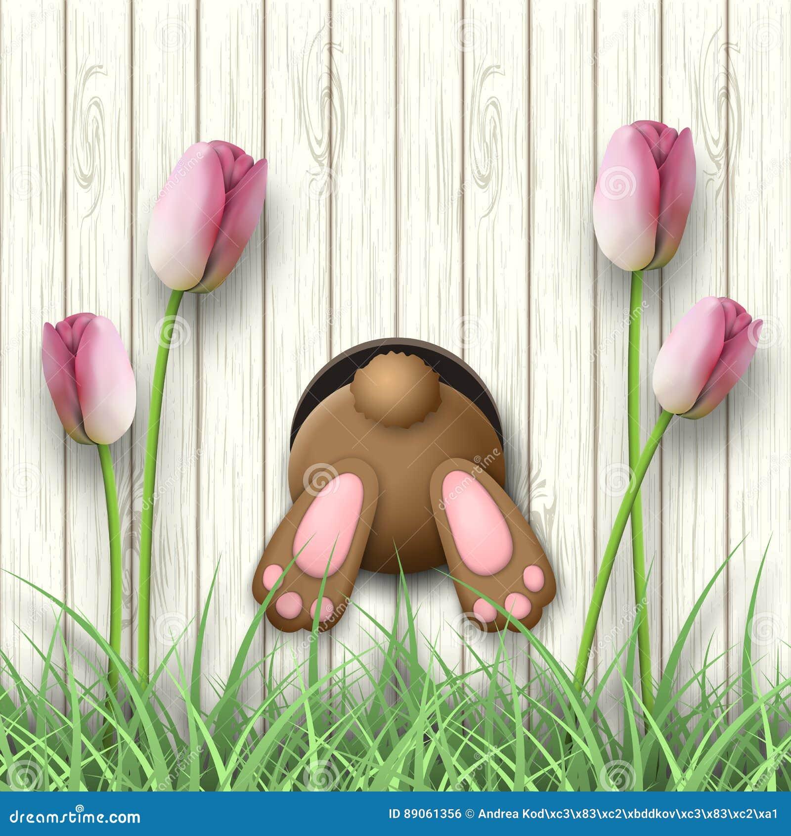 Påskbevekelsegrund, kaninbotten, rosa tulpan och nytt gräs på vit träbakgrund, illustration