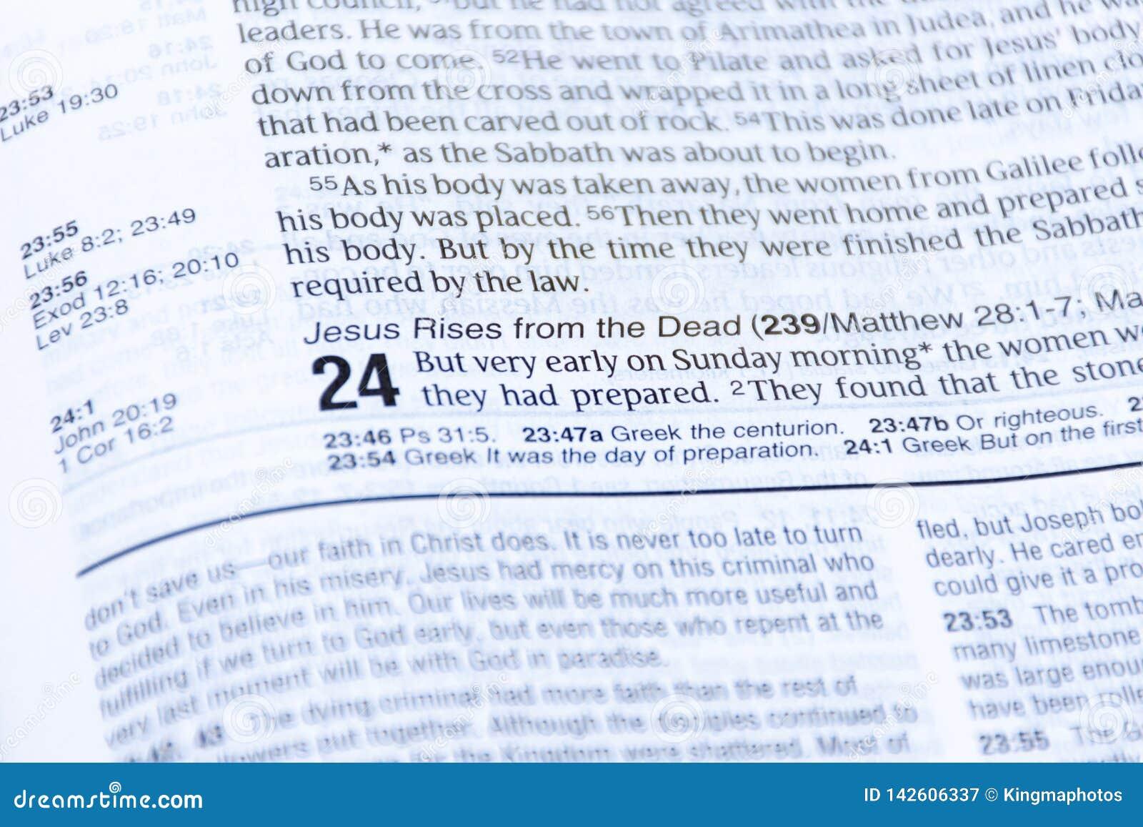 Påskbibelläsning av goda nyheter av uppståndelsen av Jesus Christ från dödaen Luke kapitel 24
