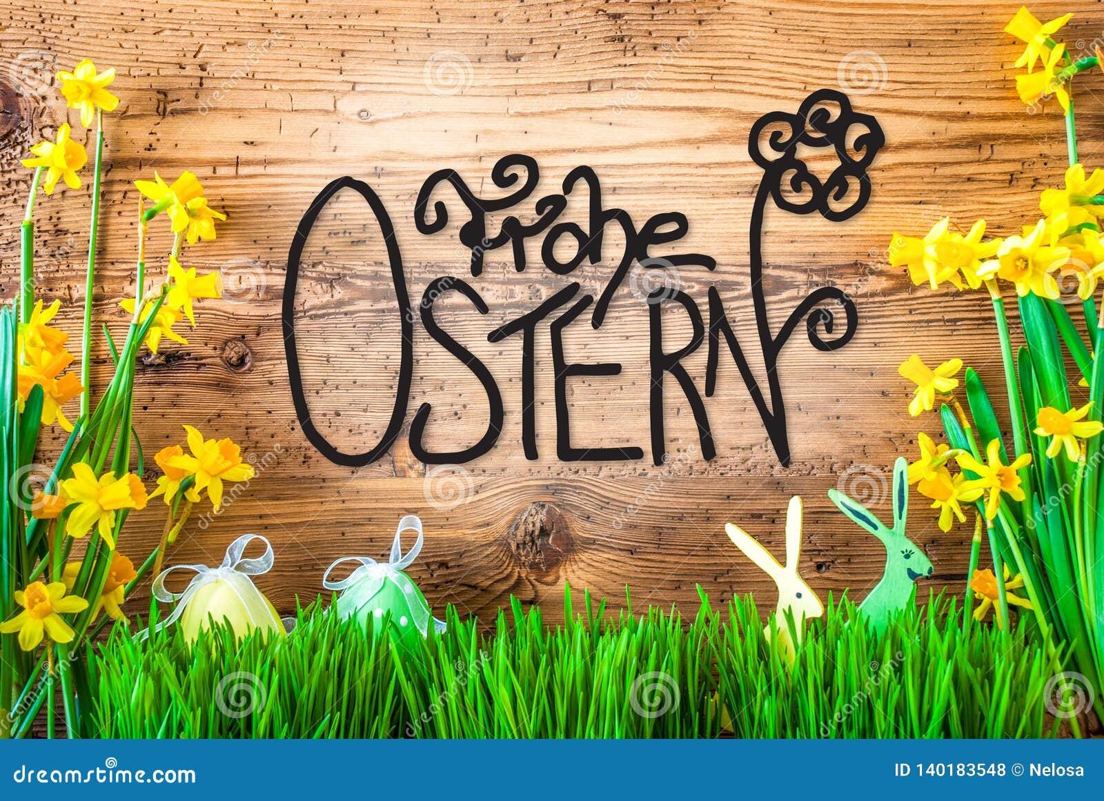Påskgarnering, vårblommakalligrafi Frohe Ostern betyder lycklig påsk