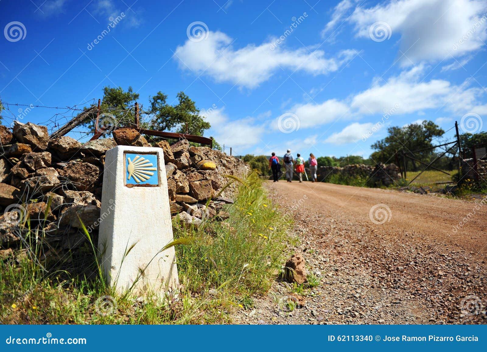 Pèlerins sur le Camino De Santiago, Espagne, chemin vers Santiago