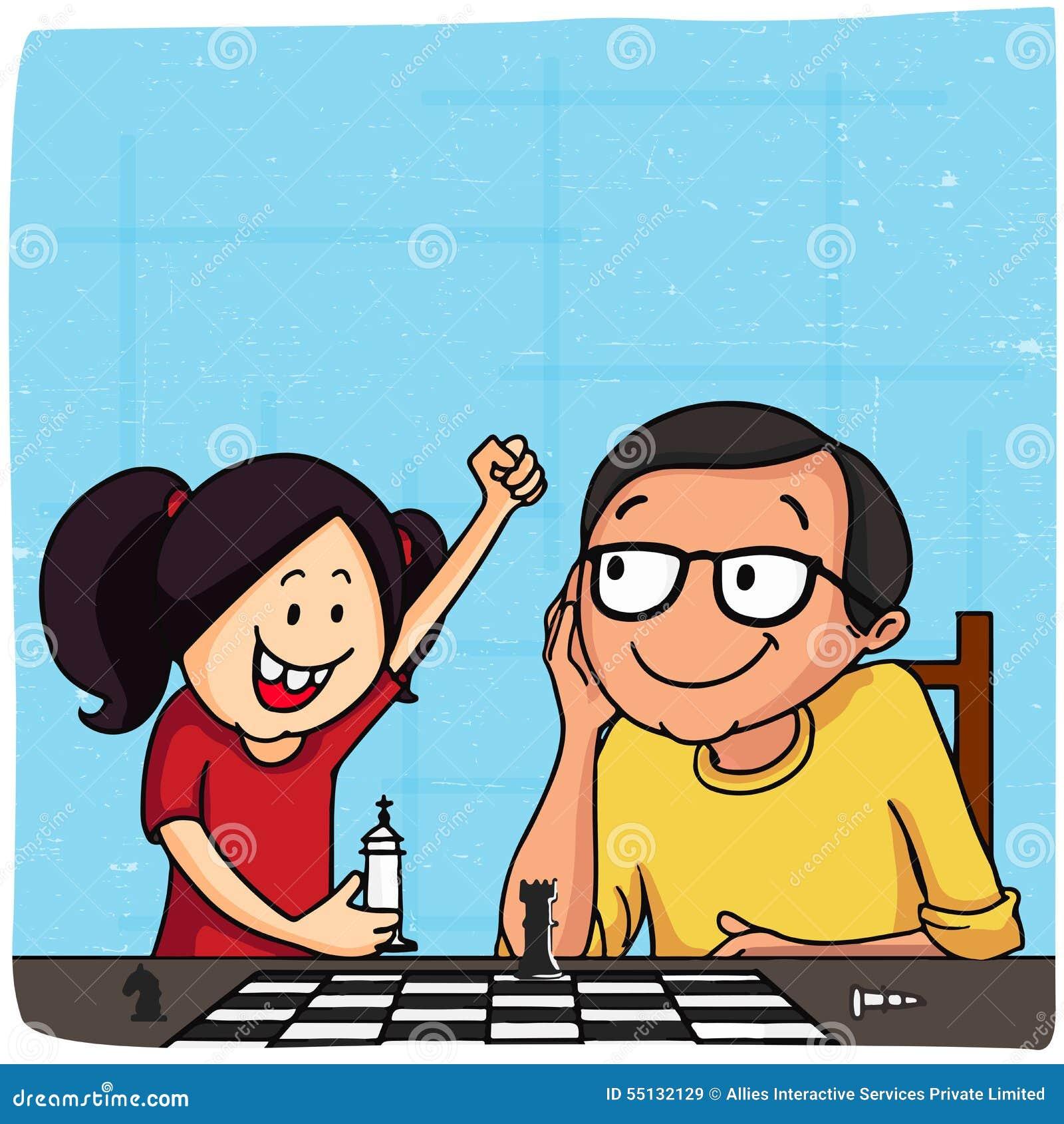 Père et fille jouant des échecs pour le jour de père