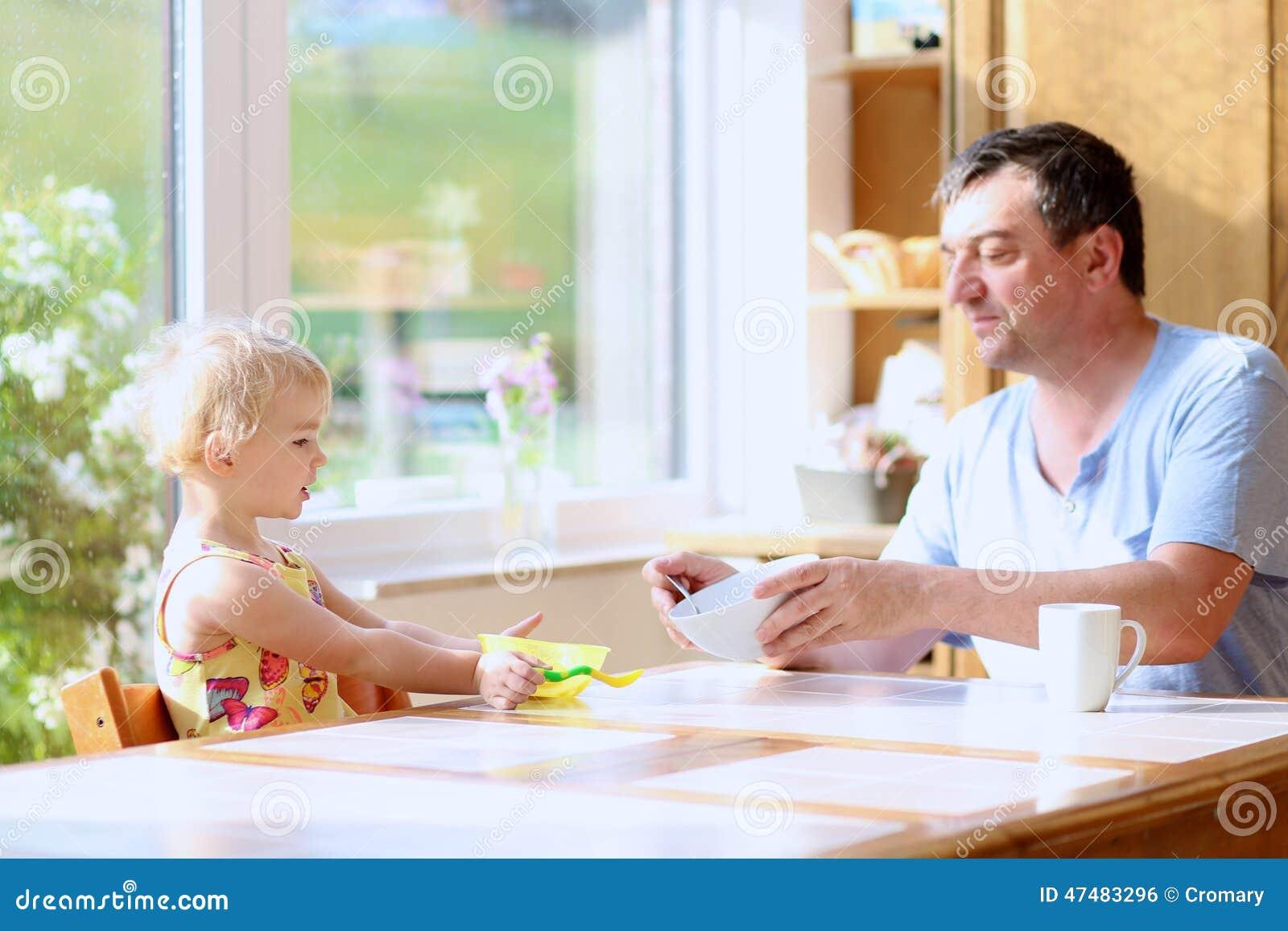 Père et fille prenant le petit déjeuner