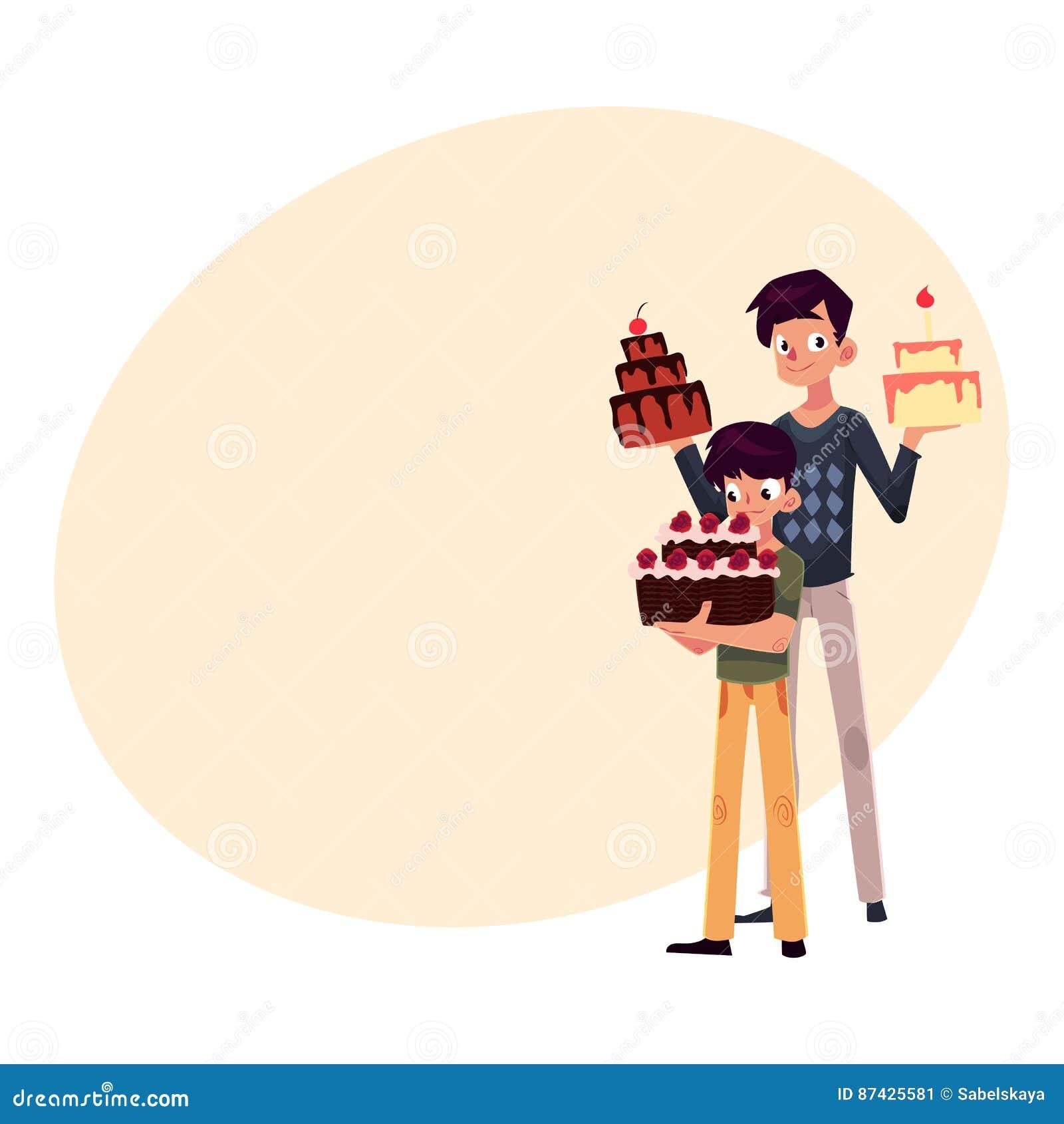 Père Et Fils Tenant Des Gâteaux Danniversaire étant Prêts