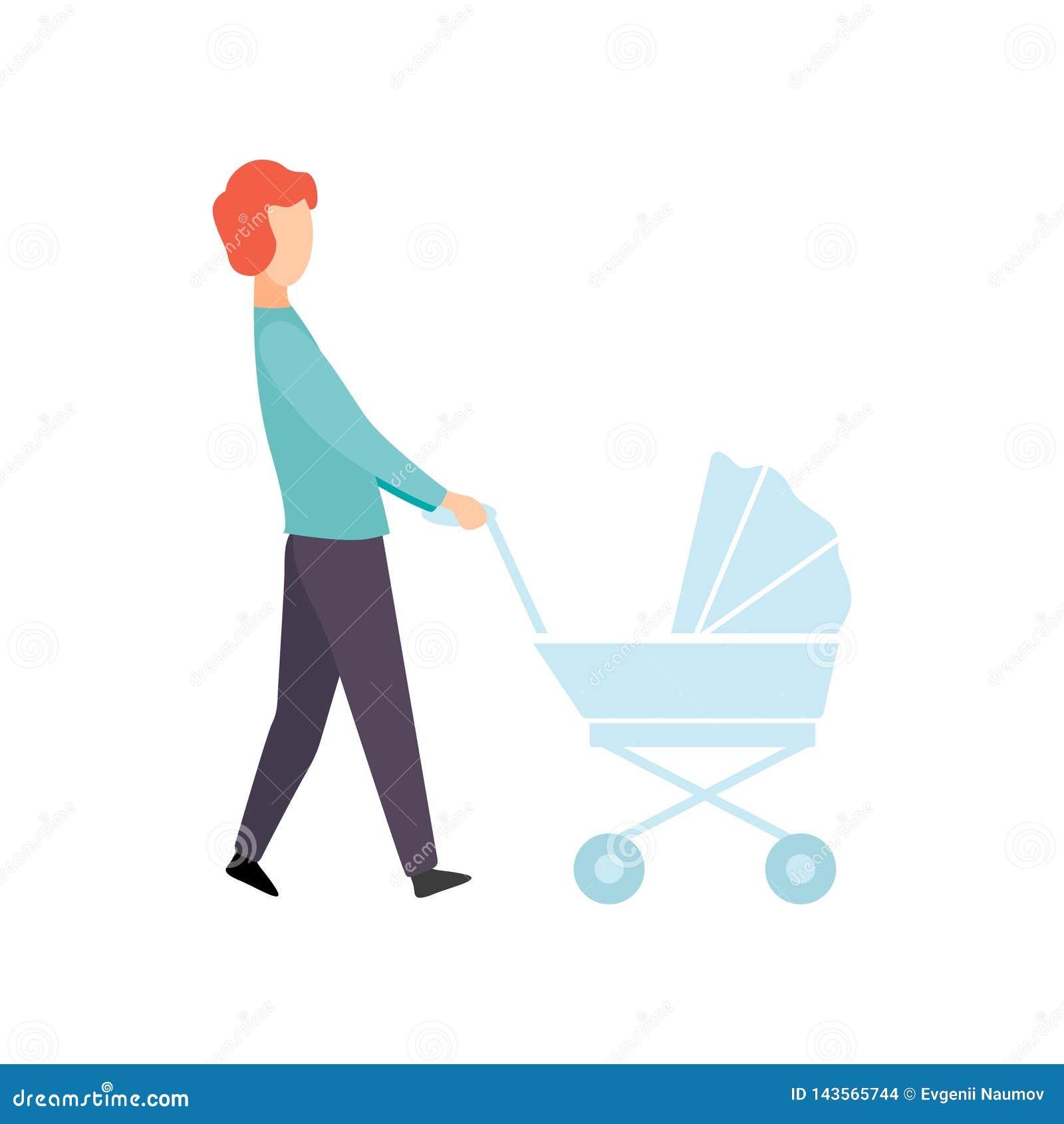 Père Walking avec la poussette de bébé, parent prenant soin de son illustration de vecteur d enfant