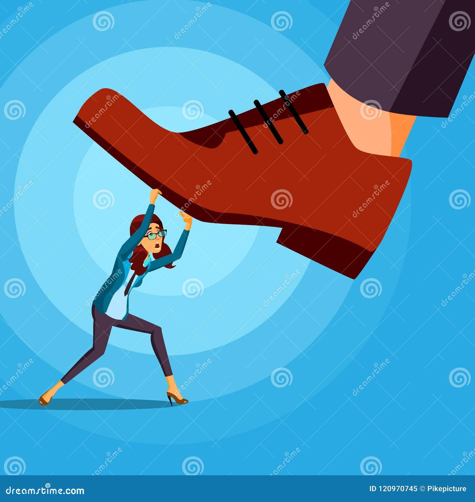 Pé grande que pisa no vetor da mulher de negócio Conflito Gestão de riscos Competição assustador motivation cartoon