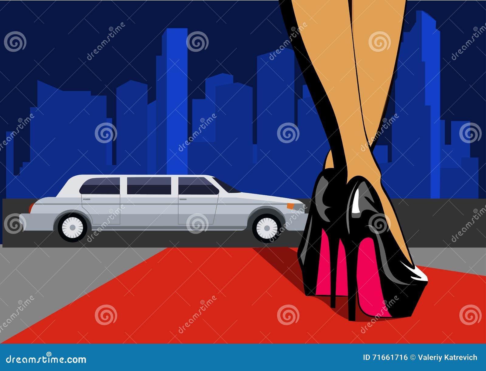 Pé  sexy  com cidade Os pés fêmeas nos saltos altos andam no tapete vermelho Ilustração do vetor
