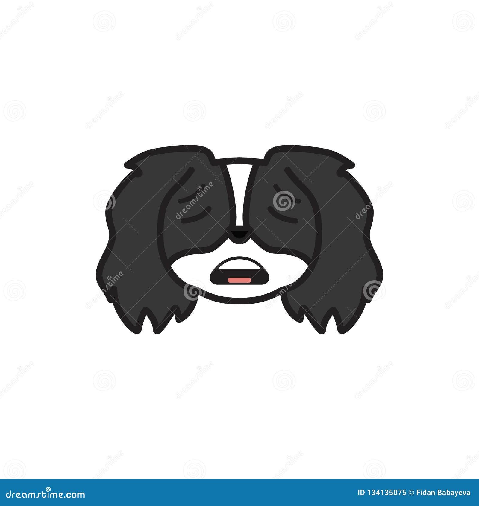 Pékinois, emoji, icône multicolore effrayée Des signes et l icône de symboles peuvent être employés pour le Web, logo, l appli mo