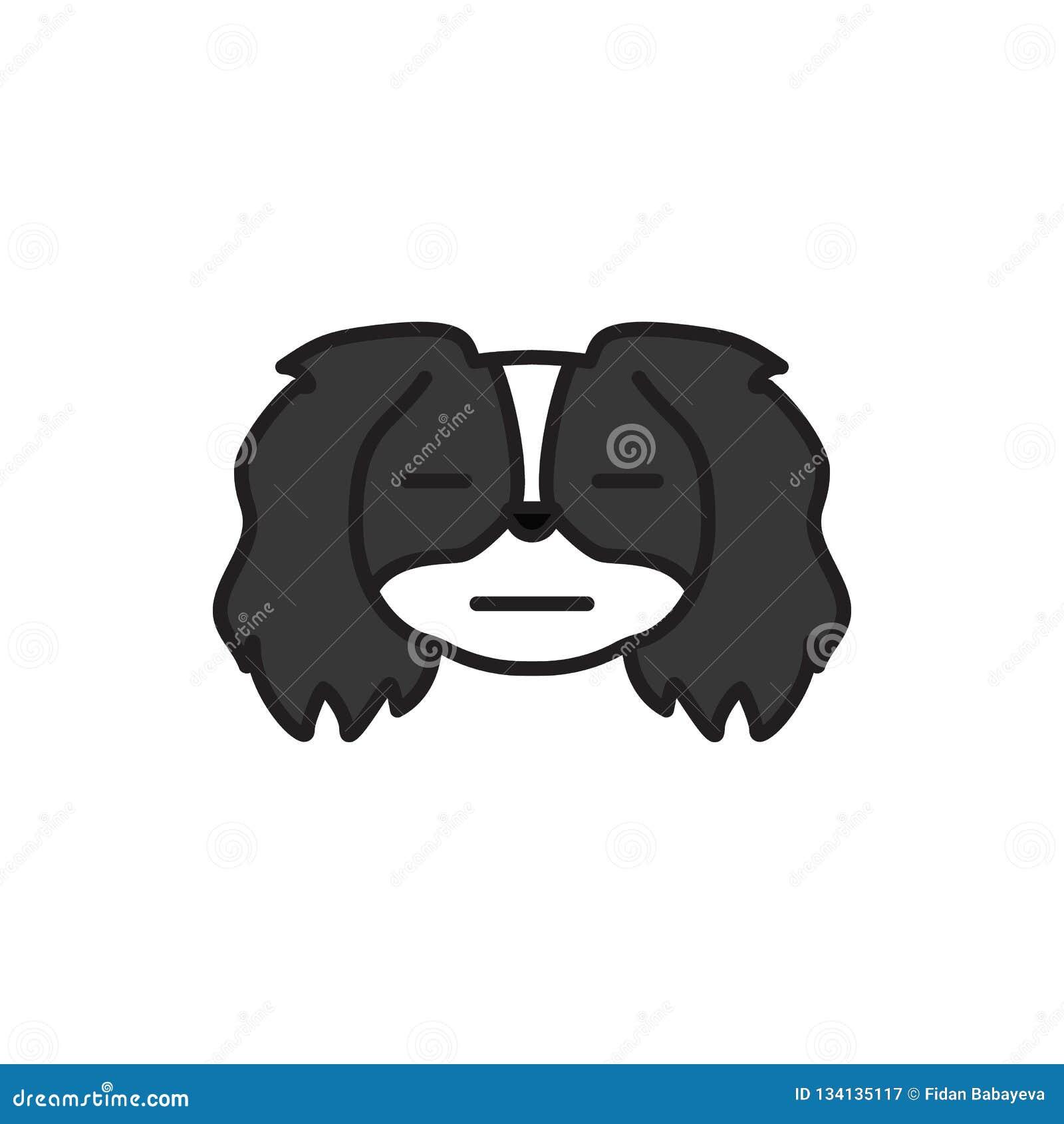 Pékinois, emoji, icône multicolore intéressée Des signes et l icône de symboles peuvent être employés pour le Web, logo, l appli