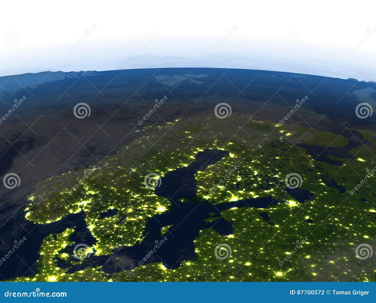 Péninsule scandinave la nuit sur terre de planète