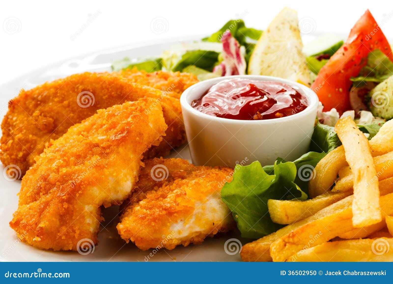 Pépites et légumes de poulet frit
