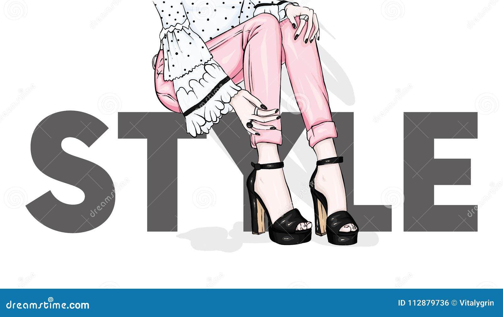 Pés delgados longos na calças apertada e em sapatas alto-colocadas saltos Forma, estilo, roupa e acessórios Ilustração do vetor