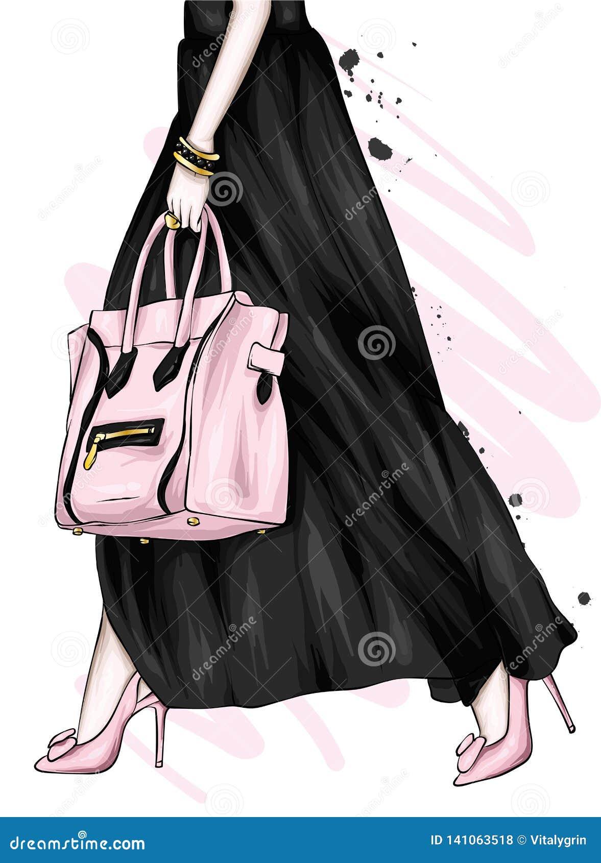 Pés fêmeas longos em uma saia bonita e em umas sapatas alto-colocadas saltos Saco à moda Forma e estilo, roupa e acessórios