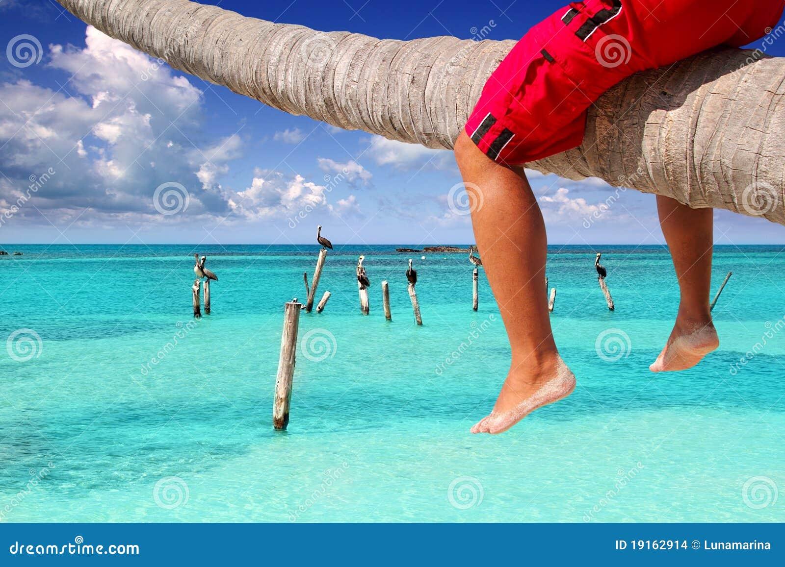 Pés inclined do Cararibe do turista da praia da palmeira