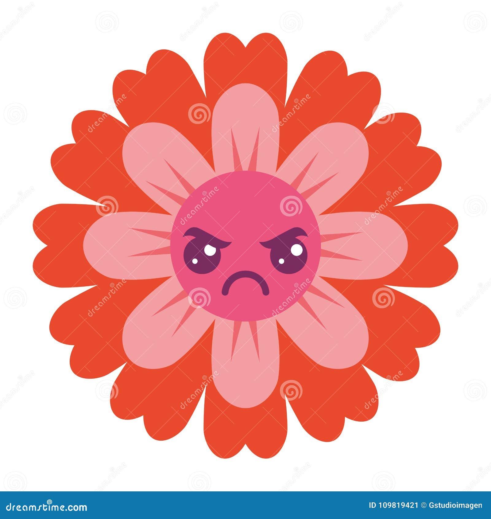 Petalas Bonitos Dos Desenhos Animados Do Kawaii Da Flor Ilustracao