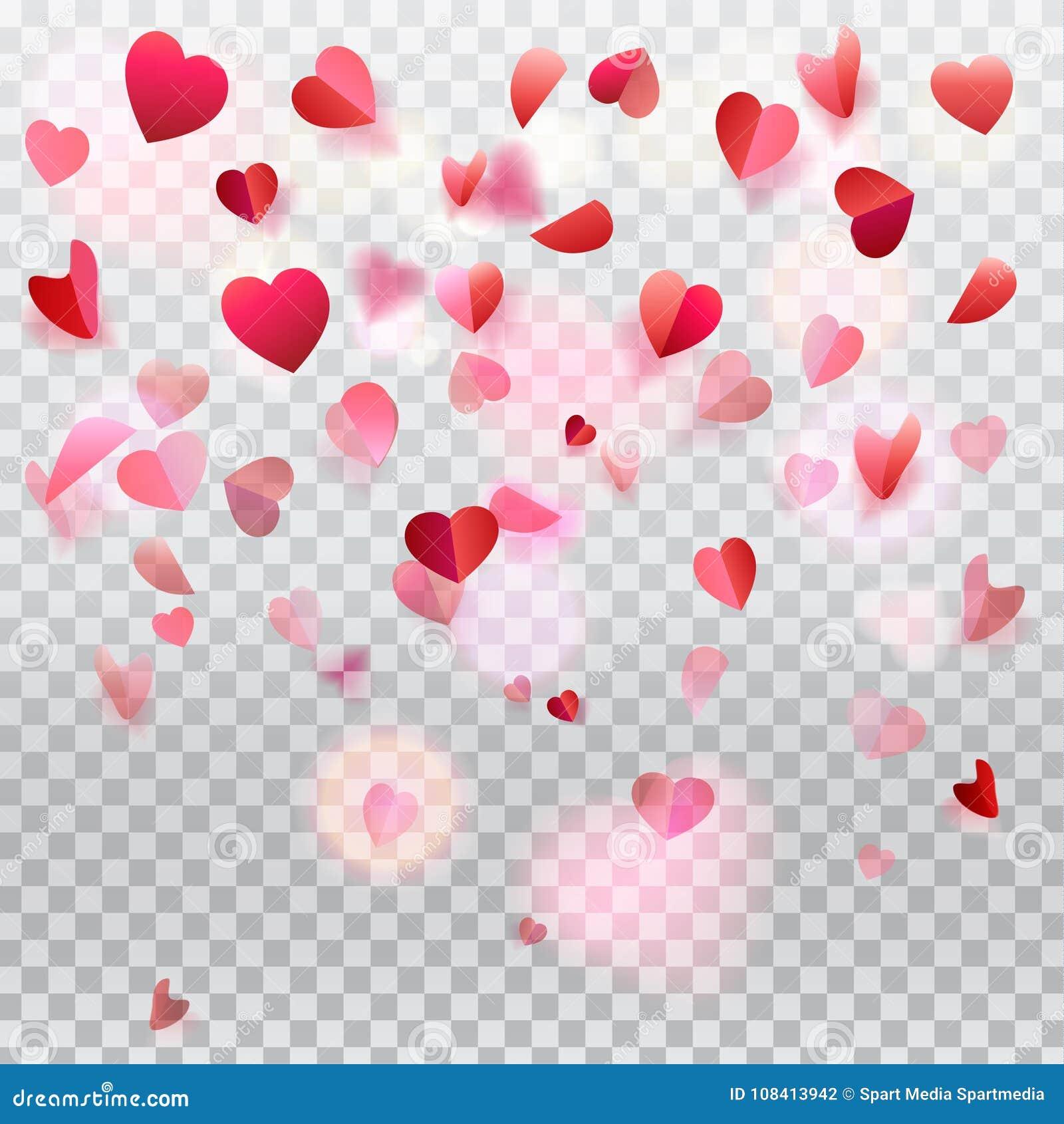 Pétalas cor-de-rosa dos confetes dos corações que voam o romance transparente