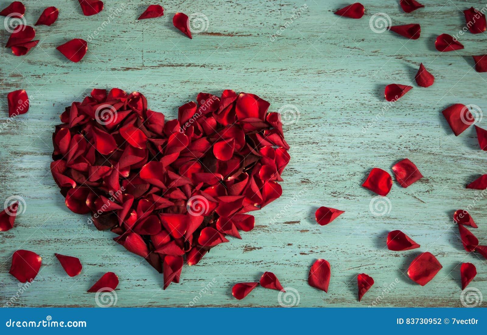 Pétalas das rosas em uma forma do coração na madeira azul