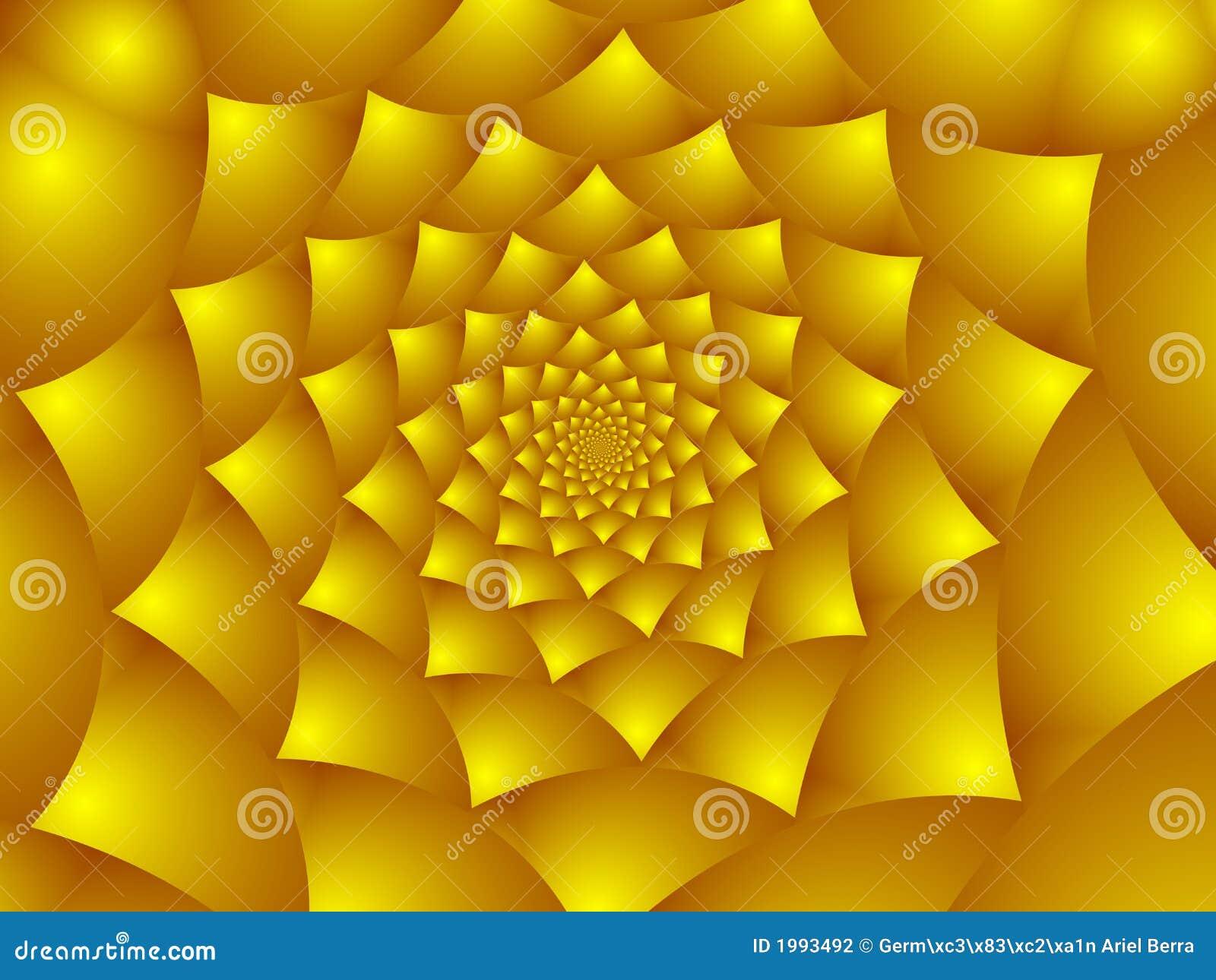 Pétalas douradas da flor.