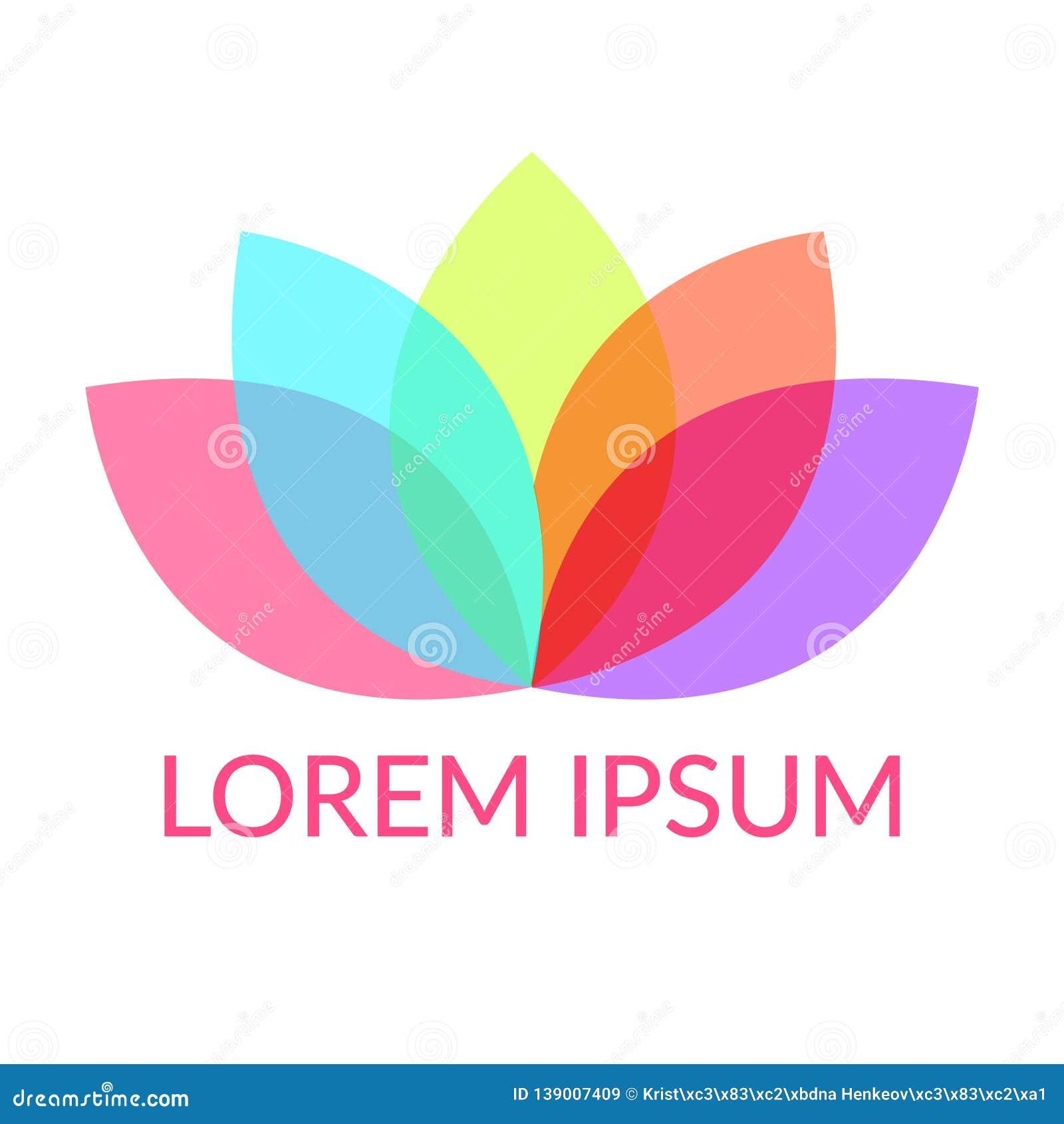 Pétales colorés Lotus ou fleur de nénuphar avec cinq feuilles recouvertes de couleur, symbole d harmonie ou yoga Texte témoin
