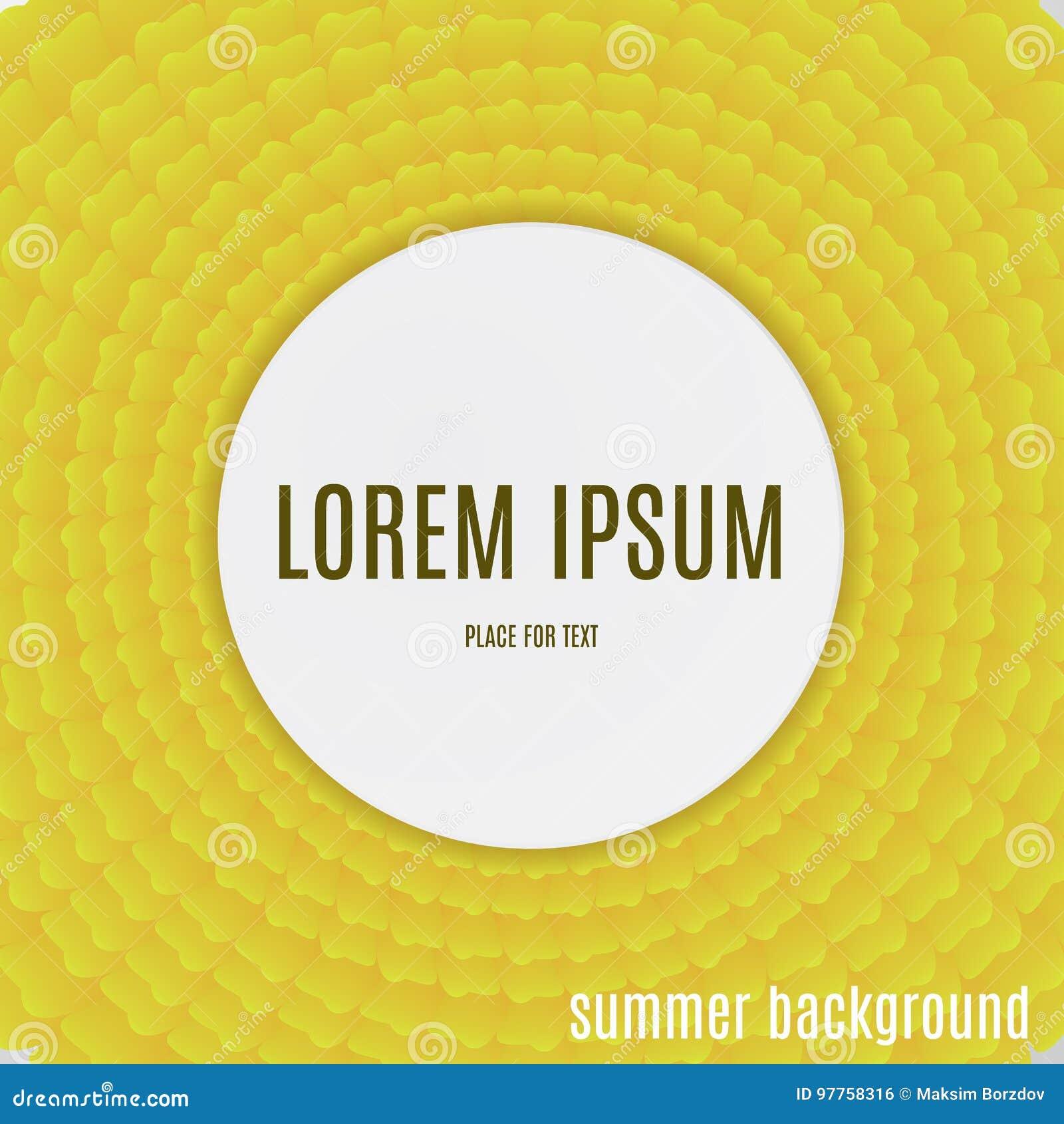 Pétalos amarillos abstractos Fondo del verano del día de fiesta