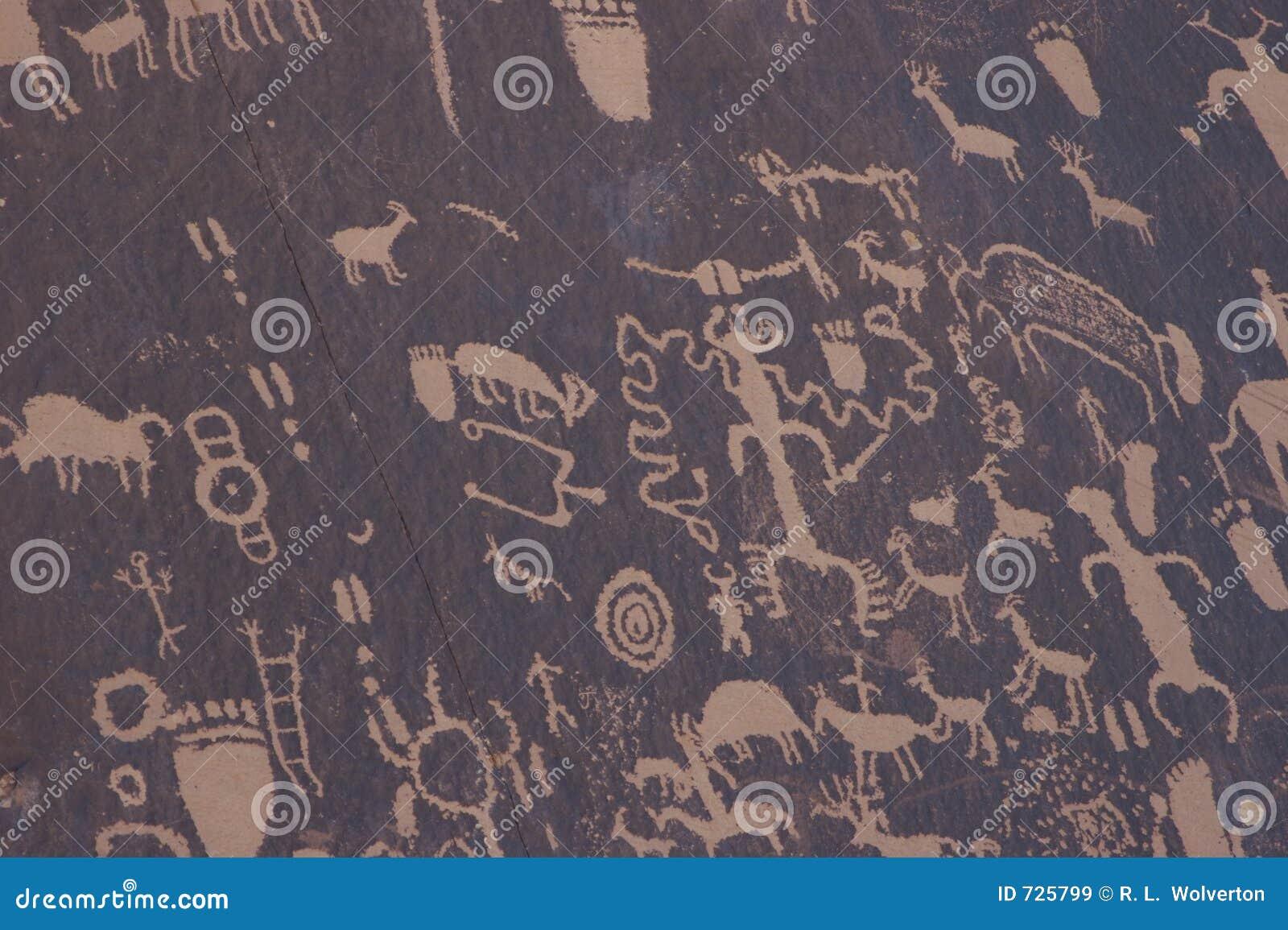 Pétroglyphes de Natif américain, roche de journal